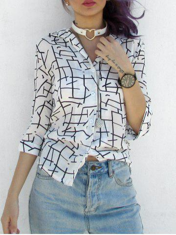 Fashion Casual V-Neck 3/4 Sleeves Printed Blouse For Women