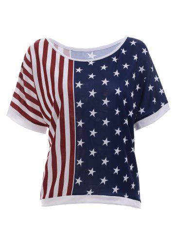 Outfit Fashionable Short Sleeve American Flag Print T-Shirt For Women