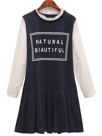 Outfit Plus Size Ruffled Neck Letter Print Long Sleeve Dress