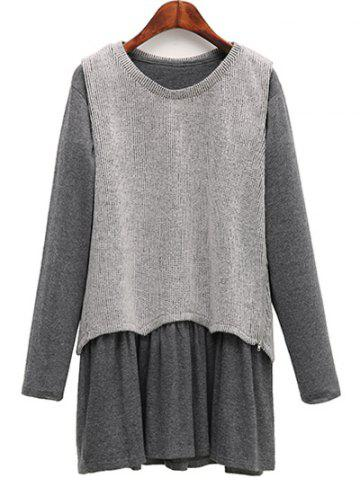 Outfits Casual Knitted Tank Top + Long Sleeve Dress Plus Size Twinset LIGHT GRAY 5XL