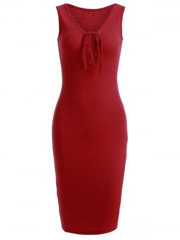 Sale Trendy Front Lace-Up Pure Color Knitted Dress