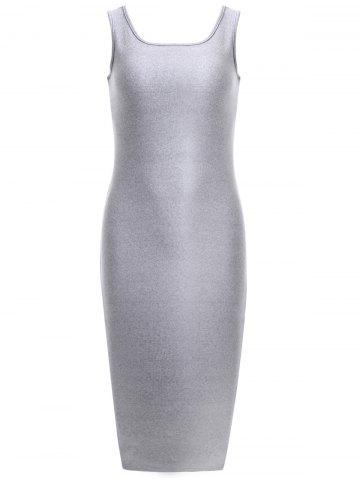 U Neck Knitted Bodycon Tank Dress - LIGHT GRAY ONE SIZE