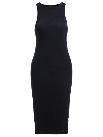 Unique Simple Pure Color Sleeveless Slimming Dress