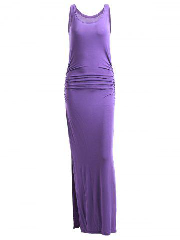 Best Simple Pure Color Slit Sleeveless Slimming Maxi Dress