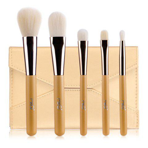 Discount Stylish 5 Pcs Artificial Fiber Face Eye Makeup Brushes Set with Storage Package