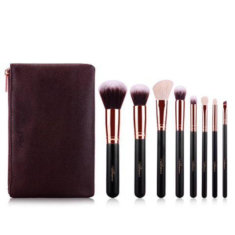 Stylish 8 Pcs Goat Hair Fiber Facial Eye Makeup Brushes Set with Brush Bag - Rose Gold - Eu Plug