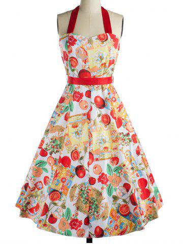 Store Retro Fruit Print Backless Tied Dress For Women