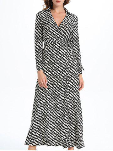 New Maxi Print Slit Wrap Dress with Long Sleeves WHITE AND BLACK XL