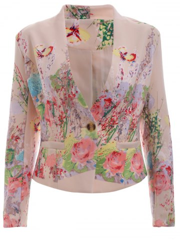 Unique Trendy V Neck Floral Print One-Button Blazer - XL PINK Mobile