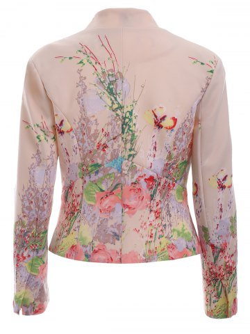 Online Trendy V Neck Floral Print One-Button Blazer - XL PINK Mobile