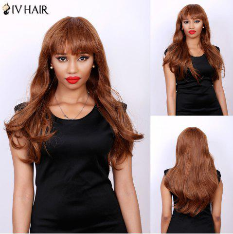 Outfits Attractive Full Bang Siv Hair Capless Fluffy Wave Long Real Natural Hair Wig For Women AUBURN BROWN