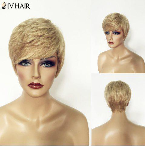 Discount Shaggy Natural Straight Siv Hair Capless Shot Layered Blonde Mixed Human Hair Wig For Women