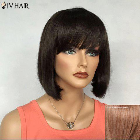 Sale Bob Hairstyle Short Siv Hair Capless Straight Real Natural Hair Wig For Women BROWN/BLONDE