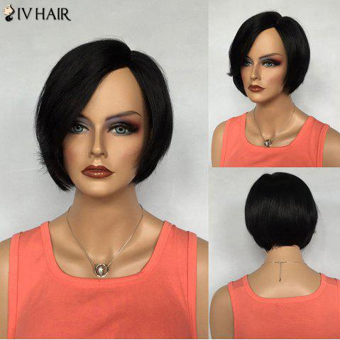 Cheap Graceful Short Bob Side Parting Siv Hair Capless Straight Jet Black Real Human Hair Wig For Women JET BLACK