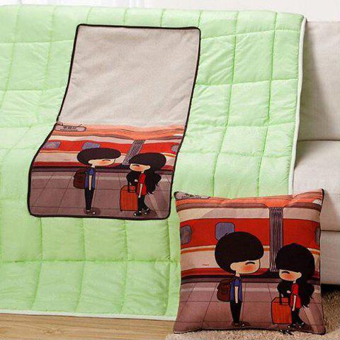 Sale Fashion Cartoon Pattern Multifunction 2 in 1 Folding Cushion Quilt COLORMIX