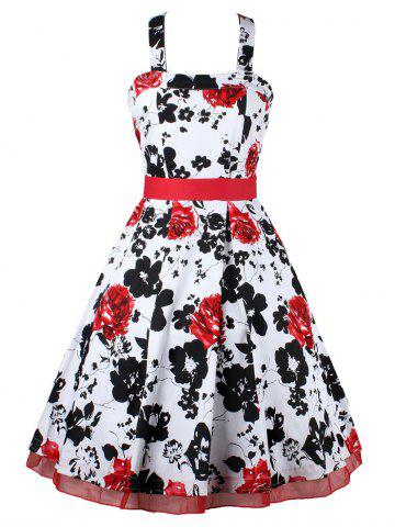 Buy Halter Neck Bowknot Floral Cocktail Dress
