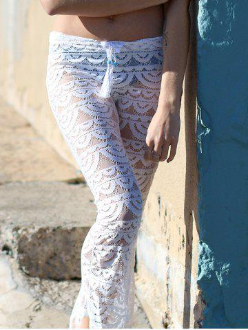 Buy Lace See-Through Beach Cover Up Pants - M WHITE Mobile