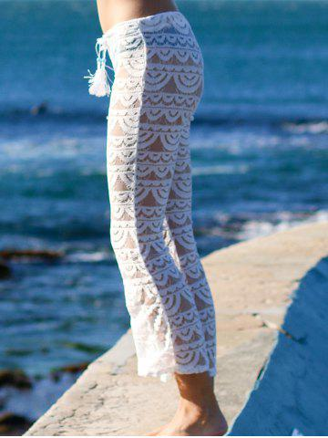 Latest Lace See-Through Beach Cover Up Pants - M WHITE Mobile