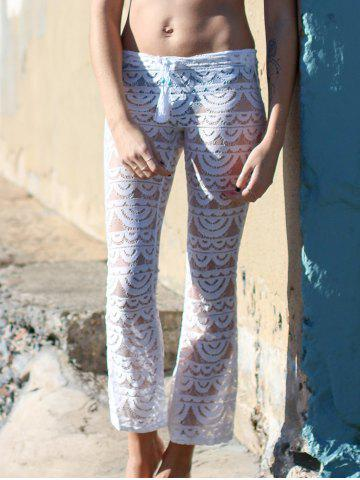 Buy Lace See-Through Beach Cover Up Pants - S WHITE Mobile