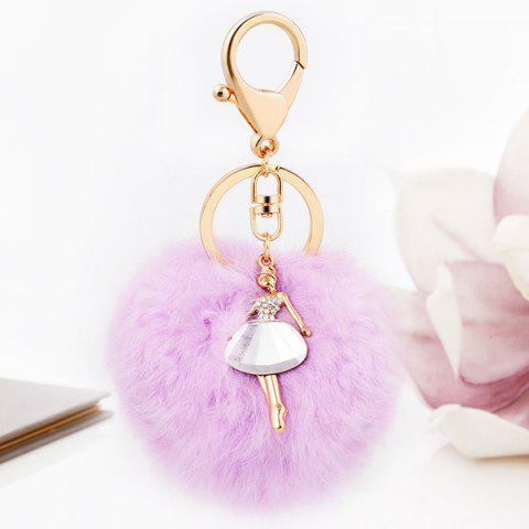Outfit Faux Fur Ball Dancing Girl Keyring