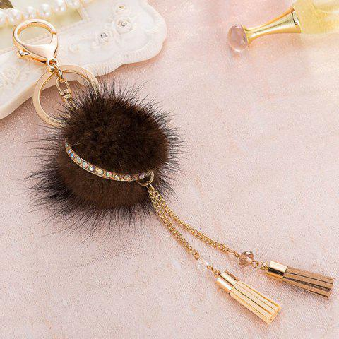 Bag Keychain Faux Fur Ball Two Tassel Keyring
