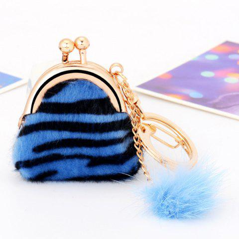 Store Mini Bag Faux Fur Ball Leopard Print Keyring - BLUE  Mobile