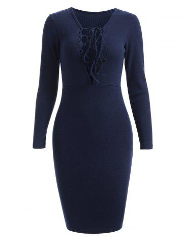 Outfit Knitted Sheath Lace Up Jumper Dress
