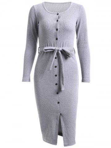 Online Simple Belted Pure Color Knitted Sheath Dress