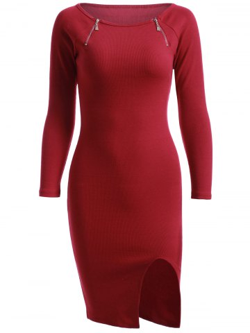 Discount Simple Zipper Pure Color Slit Knitted Sheath Dress