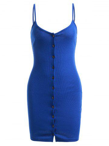 Chic Button Up Sweater Tank Bodycon Dress SAPPHIRE BLUE ONE SIZE