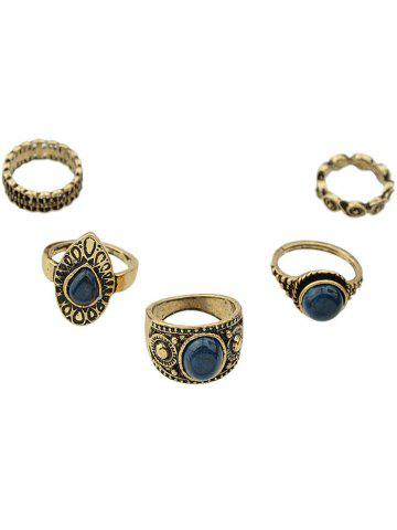 Shop Vintage Water Drop Oval Rings GOLDEN ONE-SIZE