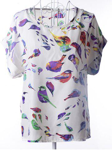 Outfit Bird Print Chiffon Loose-Fitting Tunic Blouse - L WHITE Mobile