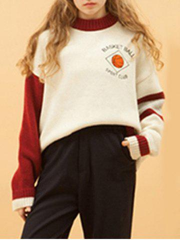Chic Casual Round Collar Basketball Embroidered Women's Sweater