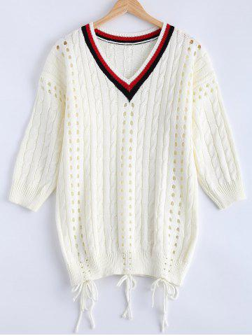 Trendy Crochet V Neck Cut Out Cricket  Sweater