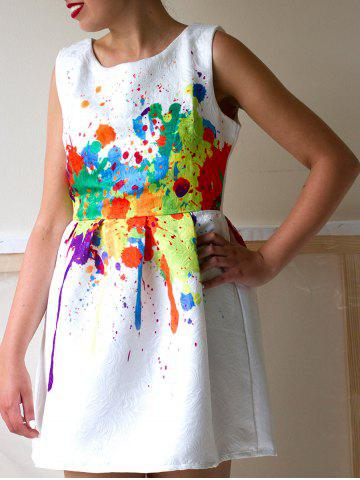 Fancy Casual Colorful Print Round Neck Women's Dress