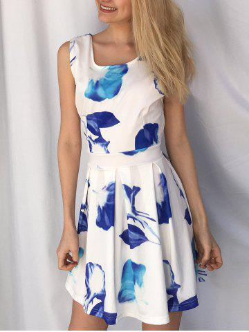 Sale Casual Scoop Neck Sleeveless Floral Print Hollow Out Women's Dress