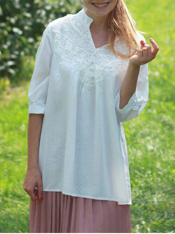 Discount Casual Lace Splicing Crochet Flower 1/2 Sleeve Women's Blouse