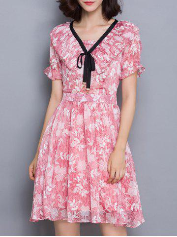 Fancy Sweet Flounce Floral Print Slimming Women's Dress