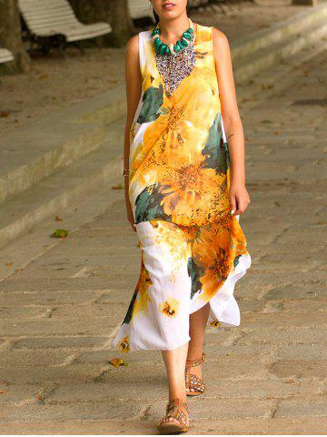 Store Sleeveless Floral Print Chiffon Casual Flowy Dress