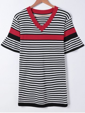 Fashion Trendy Hit Color Bell Sleeves Striped Dress