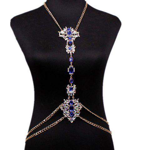 Outfit Rhinestone Water Drop Beach Body Jewelry Chain BLUE