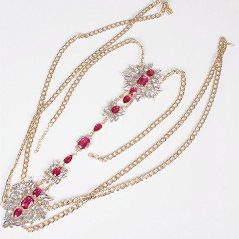 Fashion Rhinestone Water Drop Beach Body Jewelry Chain - RED  Mobile