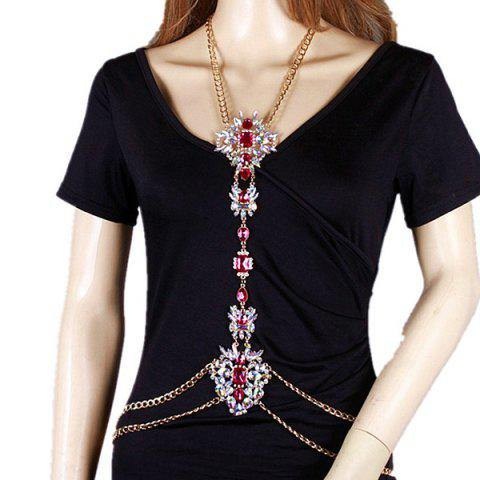Shop Rhinestone Water Drop Beach Body Jewelry Chain - RED  Mobile