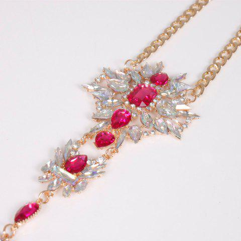 Cheap Rhinestone Water Drop Beach Body Jewelry Chain - RED  Mobile