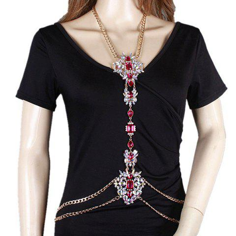Store Rhinestone Water Drop Beach Body Jewelry Chain - RED  Mobile