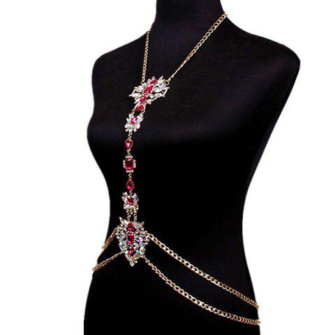 Hot Rhinestone Water Drop Beach Body Jewelry Chain - RED  Mobile