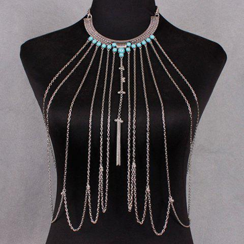 Fashion Vintage Faux Turquoise Necklace Beach Full Body Jewelry Chain