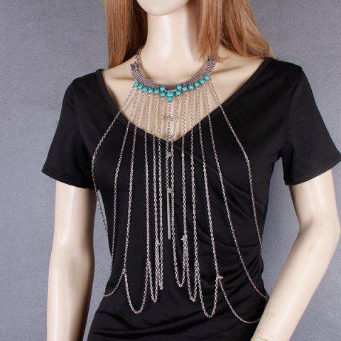 Outfit Vintage Faux Turquoise Necklace Beach Full Body Jewelry Chain - SILVER  Mobile