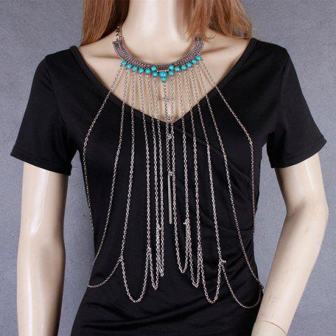 Shops Vintage Faux Turquoise Necklace Beach Full Body Jewelry Chain - SILVER  Mobile