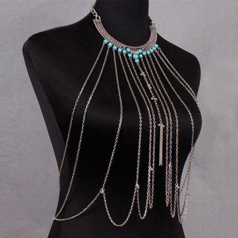 Store Vintage Faux Turquoise Necklace Beach Full Body Jewelry Chain - SILVER  Mobile